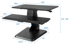 Mount-It! Standing Desk Converter, Height Adjustable With Gas Spring Assist – MI-7960