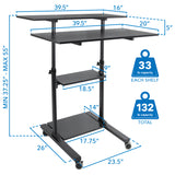 Height Adjustable Rolling Stand up Desk | MI-7970