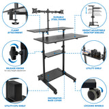 Height Adjustable Rolling Stand up Desk | MI-7972