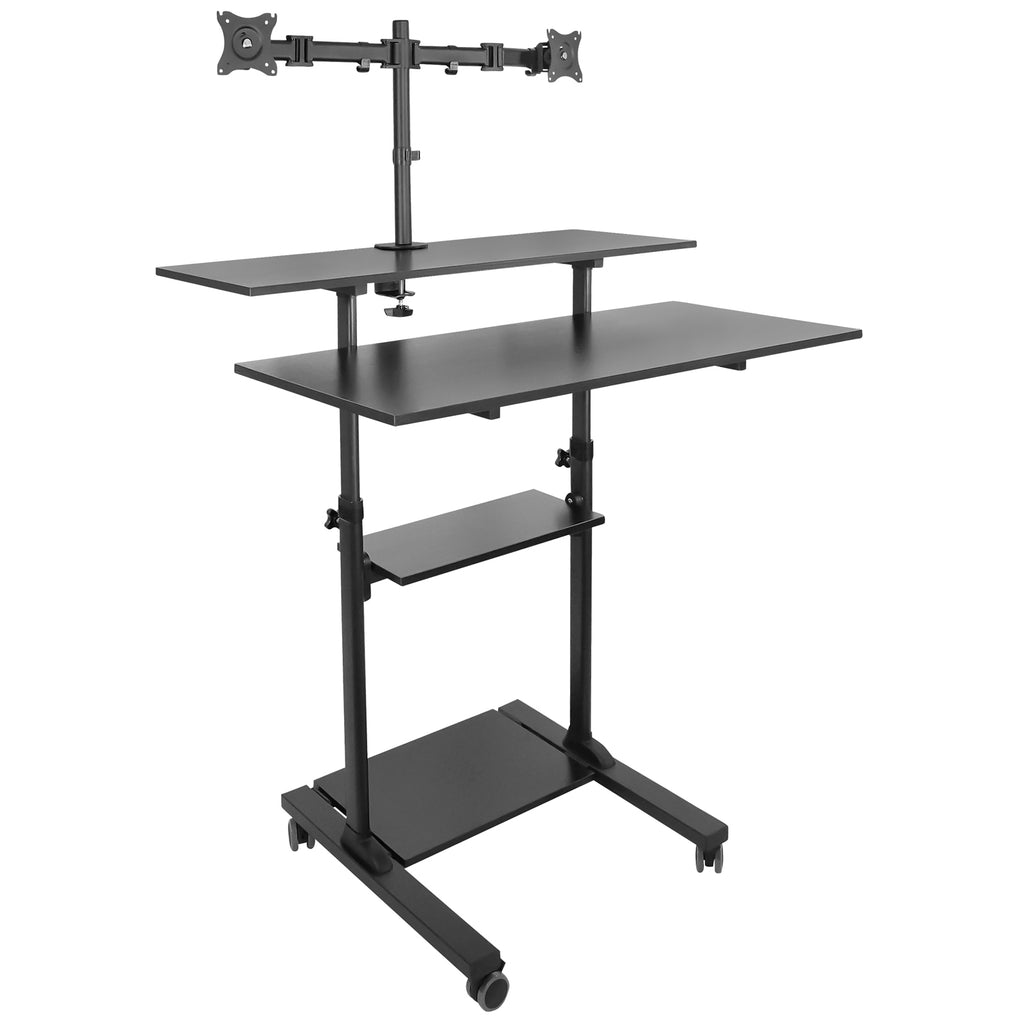 Mount-It! Height Adjustable Rolling Stand up Desk - MI-7972B