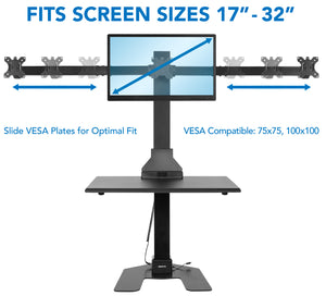 Mount-It! Standing Desk Converter with Triple Monitor Mount-MI-7983