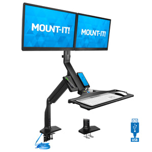 Dual Monitor Sit Stand Desk Mount with USB 3.0 Ports | MI-7984
