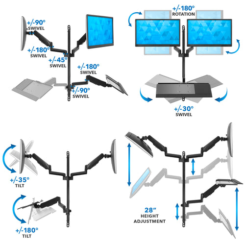 Dual Monitor Wall Mount Workstation | MI-7992 2