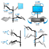 Single Monitor Sit-Stand Desk Mount with Keyboard Tray | MI-7995