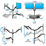 Dual Monitor Sit-Stand Desk Mount with Keyboard Tray | MI-7996