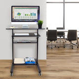 Mobile Standing Desk with Retractable Keyboard | MI-7998B