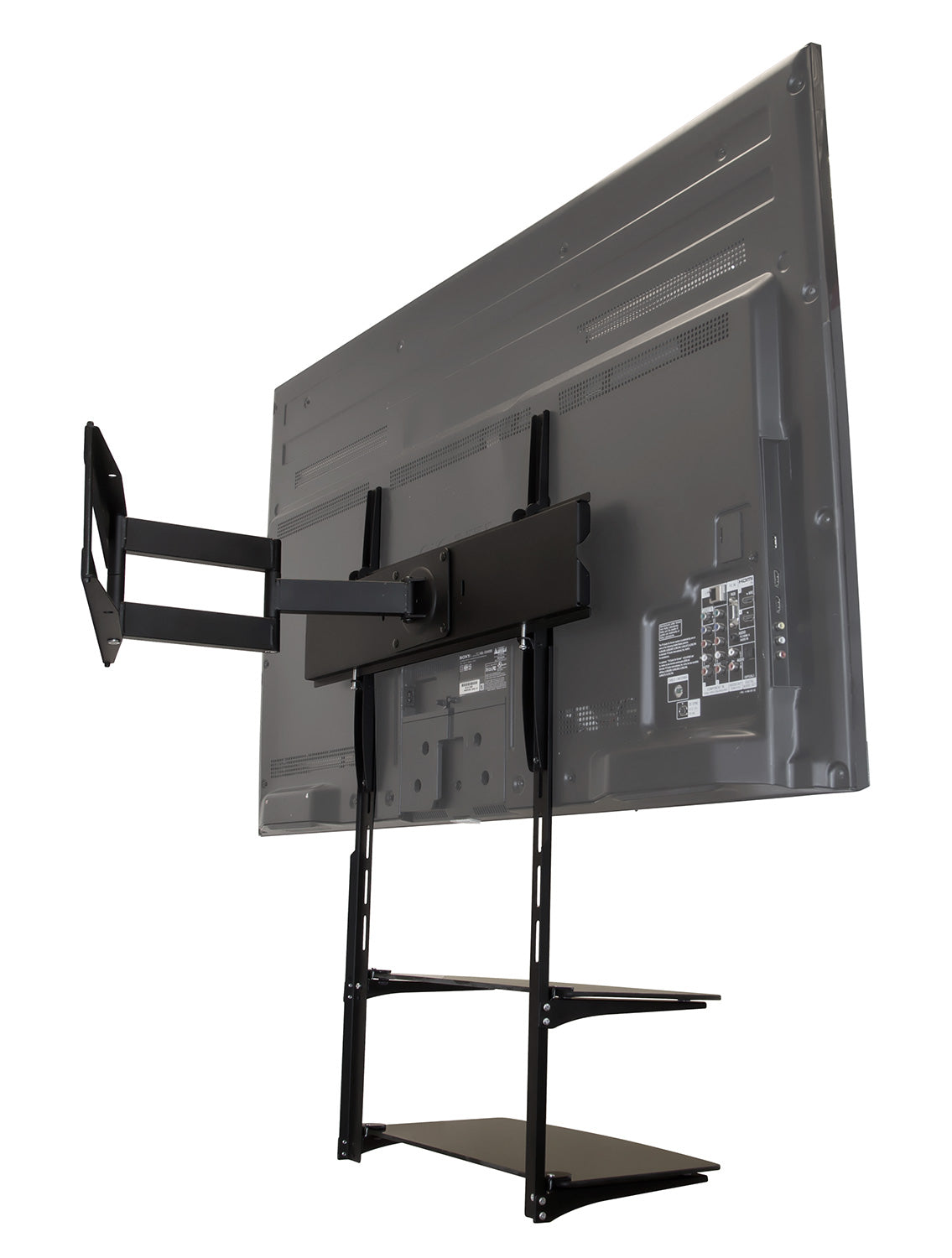 Wall Mounted Tv Shelving Unit W 2 Tempered Glass Shelves
