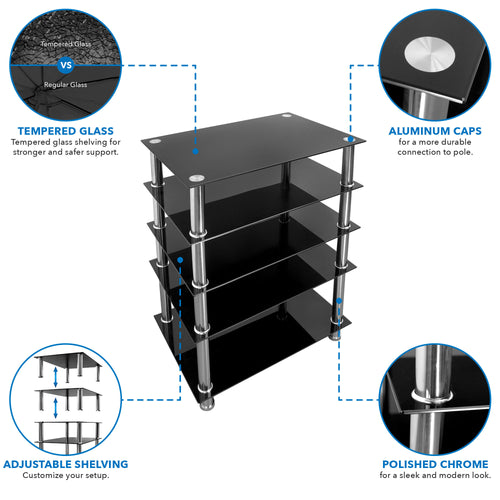 A/V Five-Tier Media Component Shelves | MI-8671 2