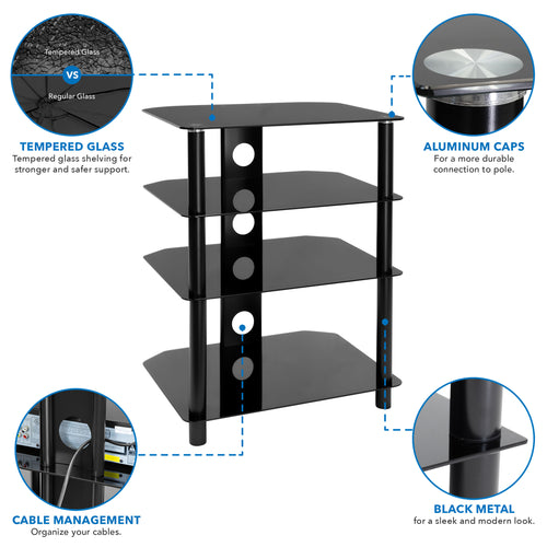 Four Tiered A/V Component TV Stand | MI-867 2