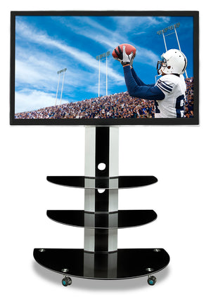 Mount-It! Premium TV Mount w/ Curved Triple Tiered Glass Shelving - MI-873 - Mount-It!
