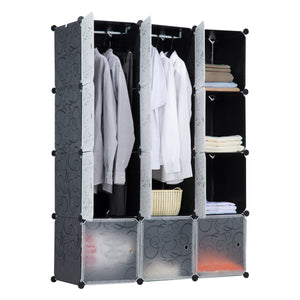 Portable Clothes Closet Rack - 12 Cubes
