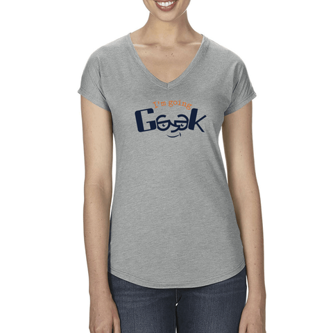 I'm Going Geek Color Logo Women's V-Neck T-Shirt