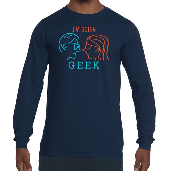 I'm Going Geek Silhouette Color Logo Men's Fashion Fit Long Sleeve T-Shirt