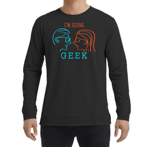 I'm Going Geek Silhouette Color Logo Unisex Light Terry Crew Long Sleeve T-Shirt