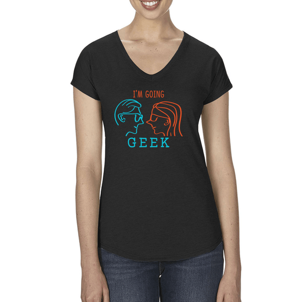 I'm Going Geek Silhouette Logo Women's V-Neck