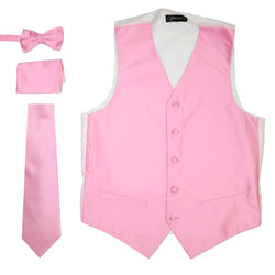 Ferrecci Mens Solid Pink Wedding Prom Grad Choir Band 4pc Vest Set - Ferrecci USA