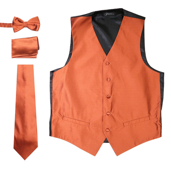 Ferrecci Mens Solid Rust Vest Set Includes Tie Bow Tie Hankie and Vest - Ferrecci USA