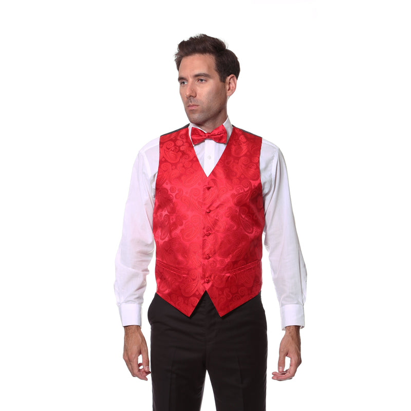 Ferrecci Mens Red Paisley Wedding Prom Grad Choir Band 4pc Vest Set - Ferrecci USA