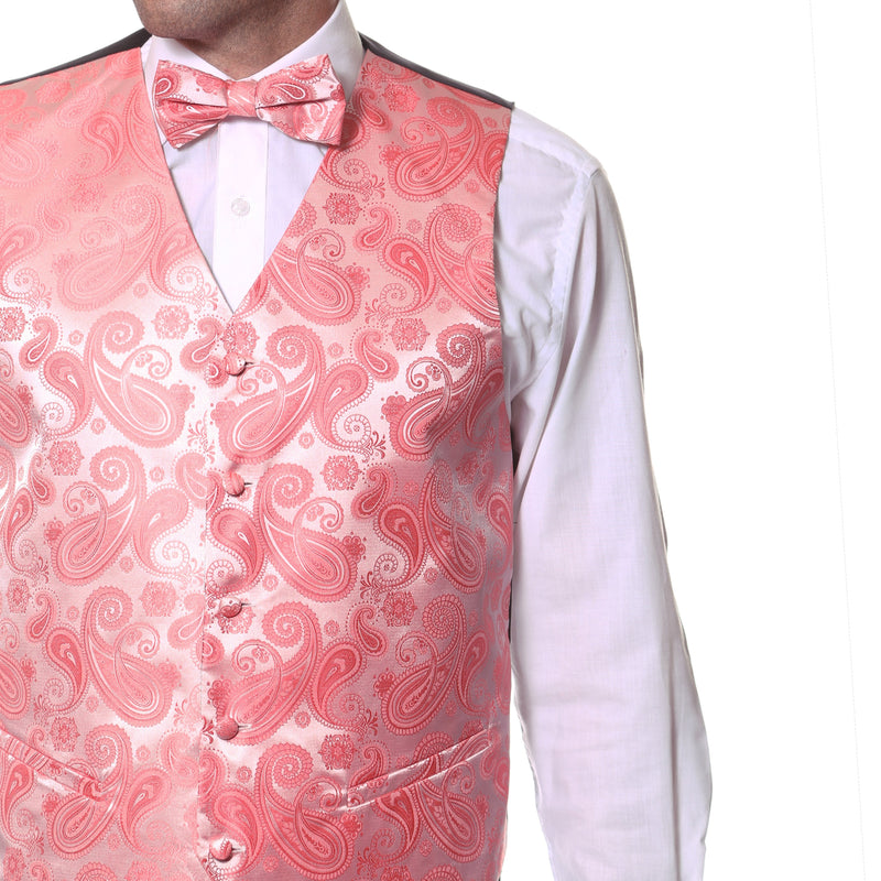 Ferrecci Mens Coral Paisley Wedding Prom Grad Choir Band 4pc Vest Set - Ferrecci USA