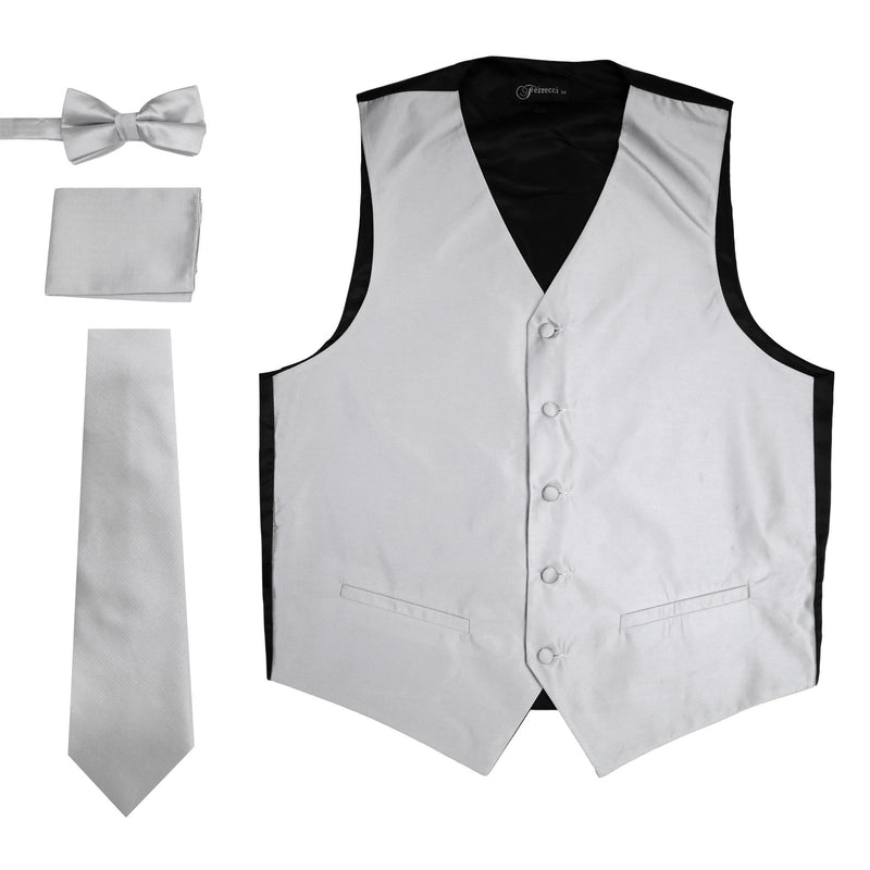 Ferrecci Mens Solid Grey Wedding Prom Grad Choir Band 4pc Vest Set - Ferrecci USA