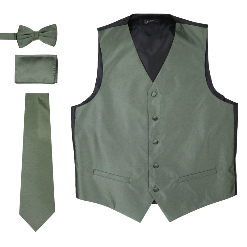 Ferrecci Mens Solid Olive Wedding Prom Grad Choir Band 4pc Vest Set - Ferrecci USA