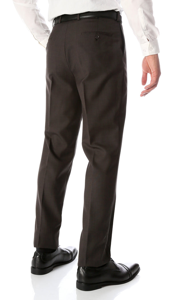Ben Taupe Wool Blend Modern Fit Traveler Dress Pants - Ferrecci USA