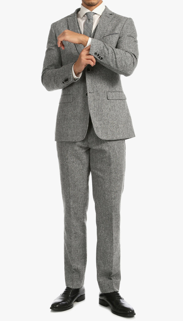 Bradford Grey Slim Fit 3pc Tweed Suit - Ferrecci USA