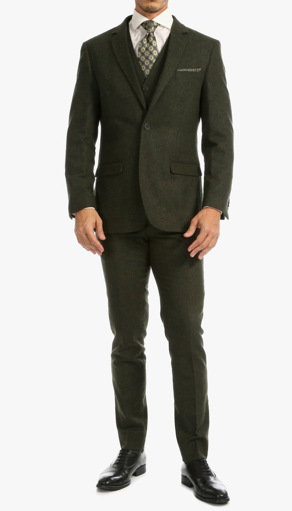 Bradford Hunter Green Slim Fit 3pc Tweed Suit