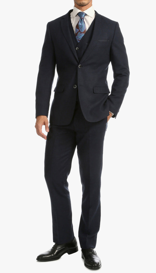 Bradford Navy Slim Fit 3pc Tweed Suit - Ferrecci USA