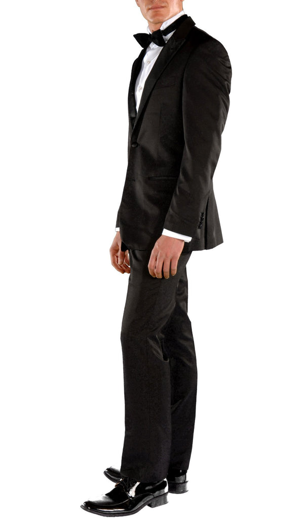Black Slim Fit Peak Lapel 2pc Tuxedo - Crisp - Ferrecci USA