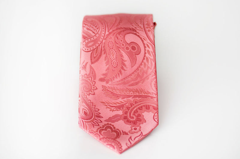 coral paisley tie for men