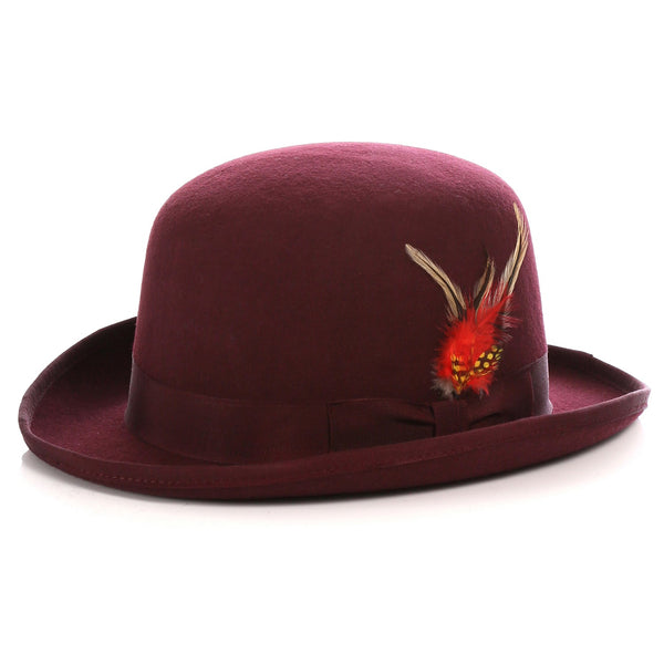 Premium Wool Burgundy Derby Bowler Hat - Ferrecci USA