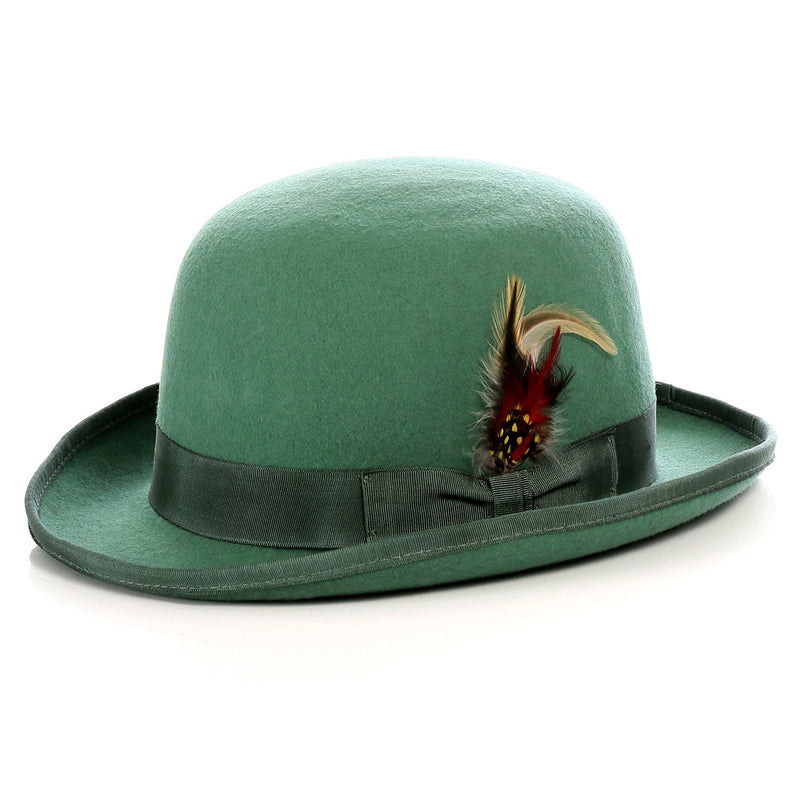 Premium Wool Hunter Green Derby Bowler Hat - Ferrecci USA