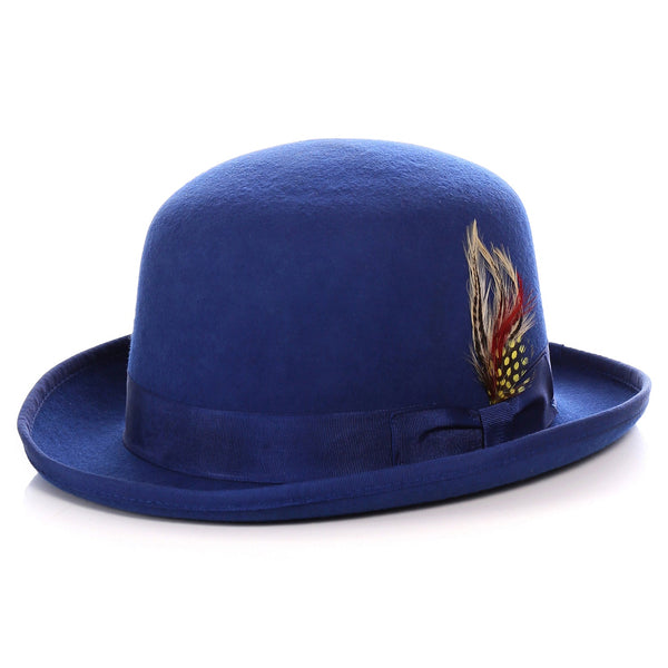 Premium Wool Royal Blue Derby Bowler Hat - Ferrecci USA