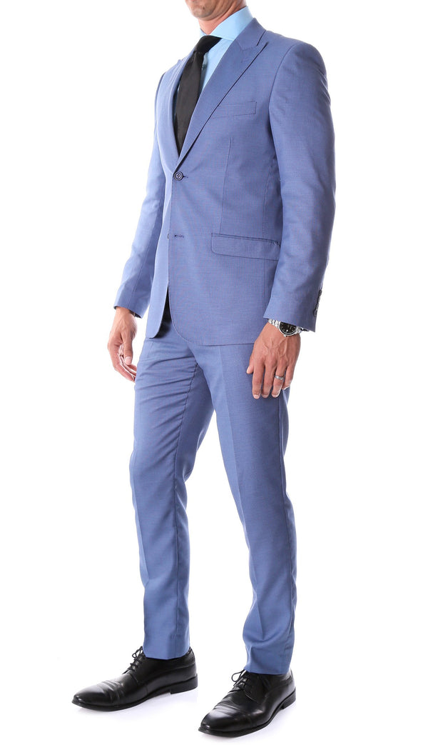 Detroit Slim Fit Blue Birdseye Peak Lapel 2pc Suit - Ferrecci USA