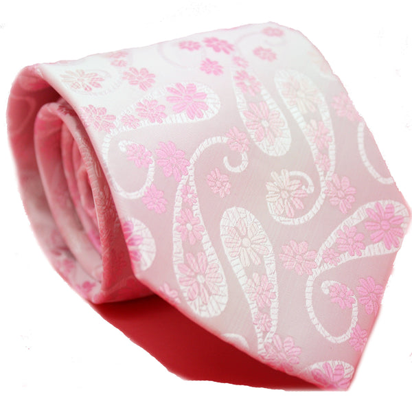 Mens Dads Classic Pink Floral Pattern Business Casual Necktie & Hanky Set DF-3 - Ferrecci USA