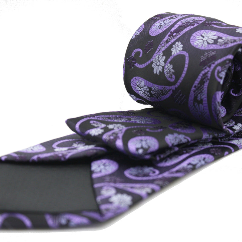 Mens Dads Classic Purple Floral Pattern Business Casual Necktie & Hanky Set DF-9 - Ferrecci USA