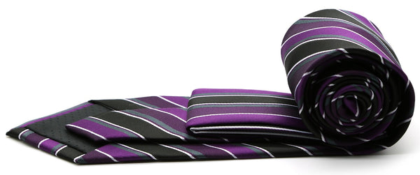 Mens Dads Classic Purple Striped Pattern Business Casual Necktie & Hanky Set DO-2 - Ferrecci USA