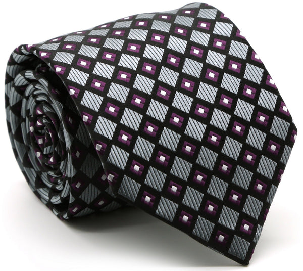 Mens Dads Classic Grey Geometric Pattern Business Casual Necktie & Hanky Set E-6 - Ferrecci USA