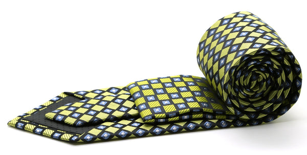 Mens Dads Classic Green Geometric Pattern Business Casual Necktie & Hanky Set E-9 - Ferrecci USA