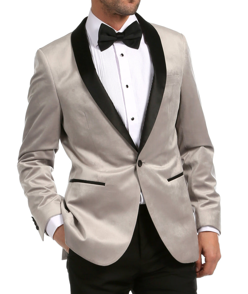 Enzo Light Grey Velvet Slim Fit Shawl Lapel Tuxedo Blazer - Ferrecci USA