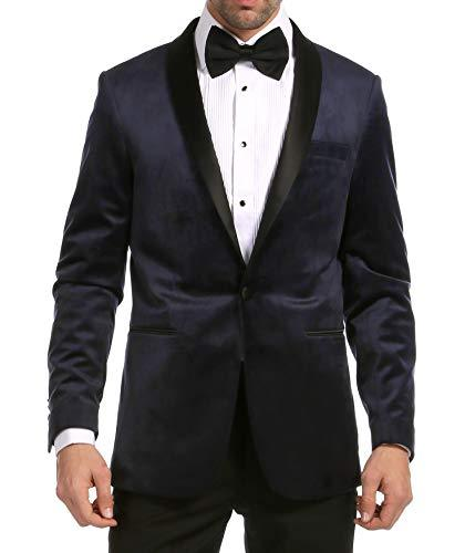Enzo Navy Velvet Slim Fit Shawl Lapel Tuxedo Blazer - Ferrecci USA