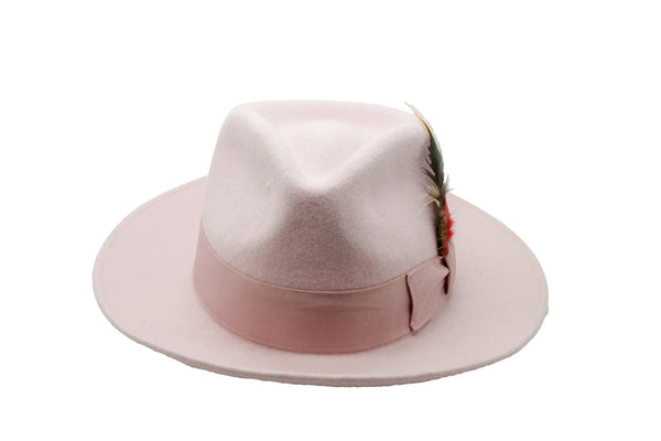 Premium Wool Light Pink Fedora Hat - Ferrecci USA