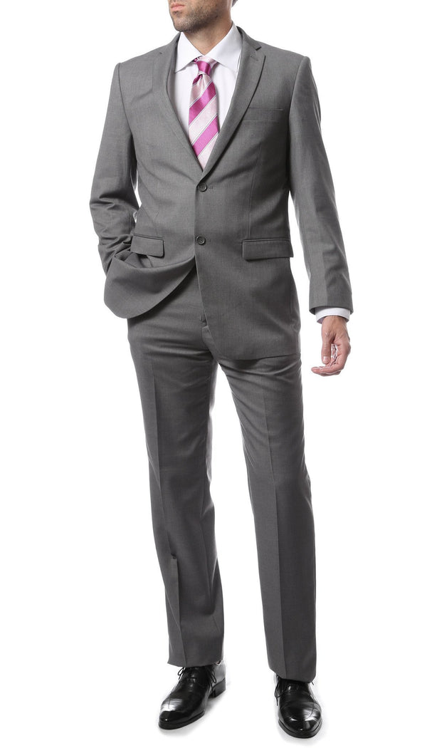 Premium FNL22R Mens 2 Button Regular Fit Grey Suit - Ferrecci USA