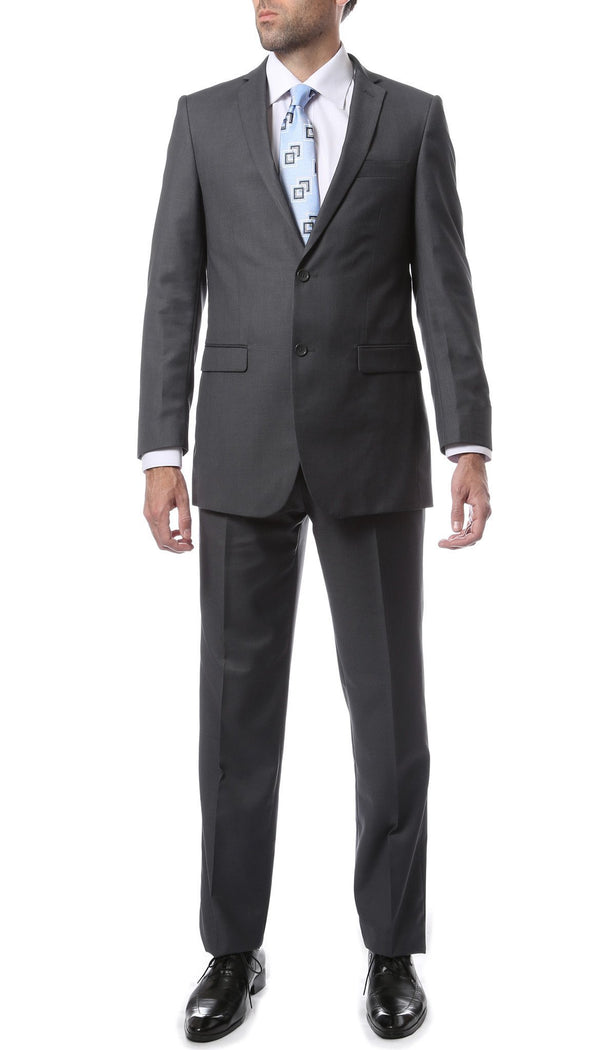 Premium FNL22R Mens 2 Button Regular Fit Heather Grey Suit - Ferrecci USA