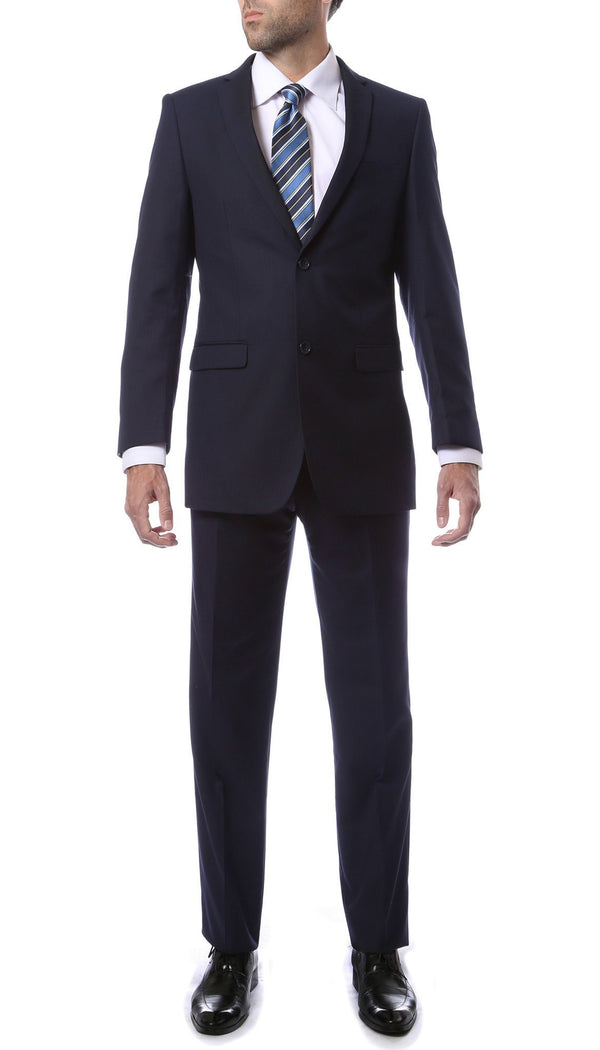 Premium FNL22R Mens 2 Button Regular Fit Navy Blue Suit - Ferrecci USA
