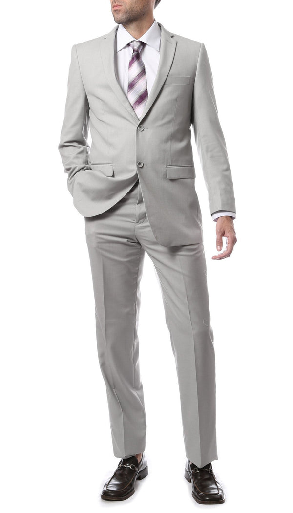 Premium FNL22R Mens 2 Button Regular Fit Light Grey Suit - Ferrecci USA