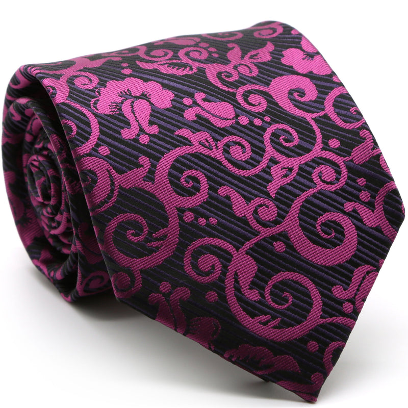 Mens Dads Classic Purple Paisley Pattern Business Casual Necktie & Hanky Set FO-6 - Ferrecci USA