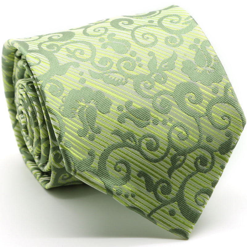 Mens Dads Classic Green Paisley Pattern Business Casual Necktie & Hanky Set FO-9 - Ferrecci USA