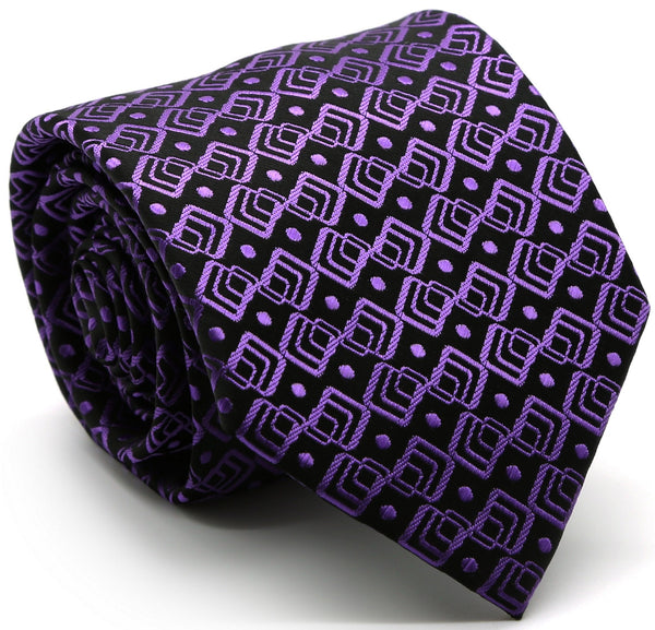 Mens Dads Classic Purple Geometric Pattern Business Casual Necktie & Hanky Set G-3 - Ferrecci USA